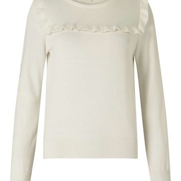 Cream Ruffle Front Knit Jumper | Missselfridge