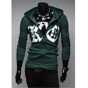 Hoodies Slim Hats Long Sleeve Print Men's Fashion Jacket [10669395203]