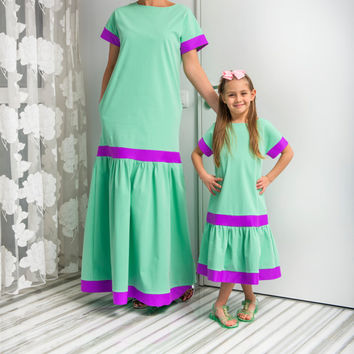 NEW SS16 MINT Cotton Maxi Dress, Mother and Daughter matching dress, Abaya Dress, Summer Dress, Long Dress, Plus size clothing