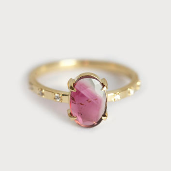 Bi Color Tourmaline Ring, Watermelon Tourmaline Ring, Tourmaline Diamond Ring, Oval Tourmaline Ring, Birthstone Ring - size 5.75