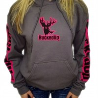 Pullover Hoodie - Charcoal Grey with Pink Logo: Hunting Apparel | Hunting Clothes | Shirts | Stickers | Decals