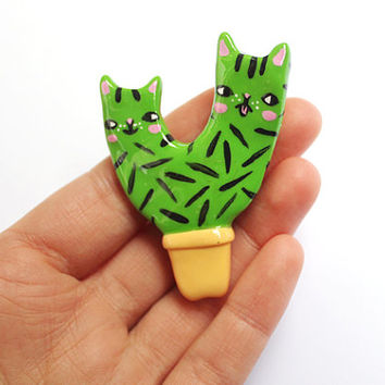 Clay Cat Cactus Brooch