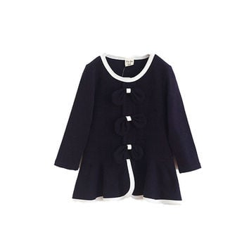 Child Kids Girl Princess Toddlers Clothes Bow Long Sleeve Dress 2-7Y