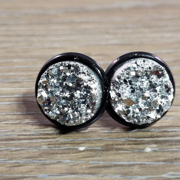 Druzy earrings- Silver drusy Black stud druzy earrings
