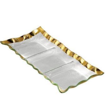 ANNIEGLASS Ruffle Three-Section Tray