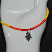 "Handmade LGBT Gay Pride Seed Bead Ankle Bracelet With Hamsa Hand Charm, 10.25"" Long, Gay Pride, Gift Idea, Pride Month, Ankle Bracelet"