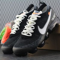Best Online Sale OFF WHITE x  Nike Air VaporMax Vapor Max 2018 Flyknit Men Women Sport Running Shoes AA3831-001