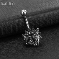 Piercing Ombligo Ear Plugs Hot Sale Limited Belly Button Rings Nose Piercing 316l Flower Navel Bars Ring Jewelry 1.6*10*5*8mm