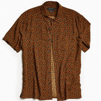 UO Owen Leopard Rayon Short Sleeve Button-Down Shirt | Urban Outfitters