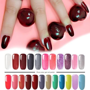 Sell like hot 8ml UV Gel Nail Polish LED Lamp Gel Lacquer 54 Color Gel Polish Pure Colors Semi Permanent Gel Varnish Nail
