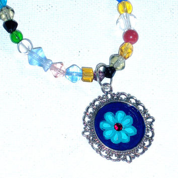 Funky Colorful Necklace Hand Painted Flower Pendant Glass Beaded Boho Necklace