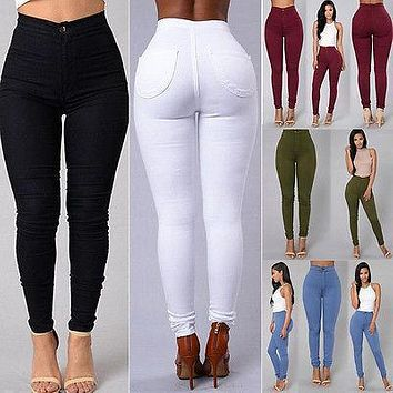 2017 HOT SALE Women Denim Skinny Jeggings Pants High Waist Stretch Jeans Slim Pencil Trousers