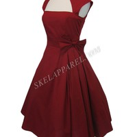Plus size Gothic Rockabilly Red Rose Belted Bow Party Dress