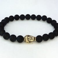 Matte black beaded gold Buddha stretchy bracelet