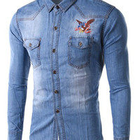 Blue Eagle Shirt Collar Long Sleeve Denim Jacket