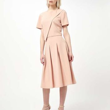 Nude Crepe Midi Skirt - Co-ordinates - Clothing