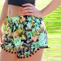 aptitud Bermuda Feminina Recife 2016 Short Women Beach Tassel Bohemian National Wind Loose Women's Short Feminino Plus Size D018