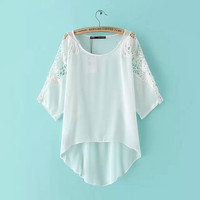 White Cutout Lace Sleeve Asymmetrical Blouse