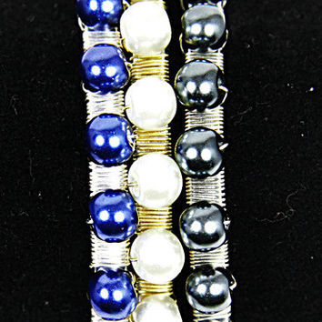 Set of 3 Wire Wrapped Pearl Bangles, White Blue and Black Adjustable Beaded Bangles, Stacked Multi Colored Bangles