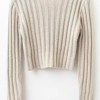 Apricot Round Neck Crop Sweater