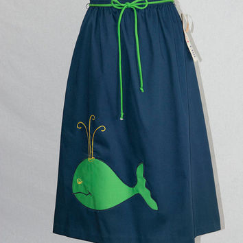 Vintage 70s Novelty Whale Applique Skirt New With Tags Unworn Preppy Cuteness! by Cherry Hill