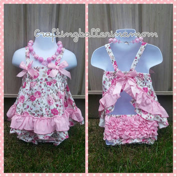 Baby Girl Swing Top Set, Floral Swing Top Set, Floral Baby Onesuit, Pink Swing Top Set, First Birthday Outfit, Ruffle Baby Bloomers, Necklace