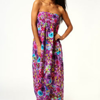 Nina Digital Look Floral Bandeau Maxi Dress