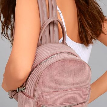 Baby Got Back-Pack Mauve Pink Corduroy Mini Backpack