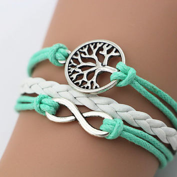 Combined Bracelet, Antiqued Silver Karma Infinity Bracelet, Family Tree Bracelet, Tree of Life,  Light Blue Leather Rope, Friendship Gift