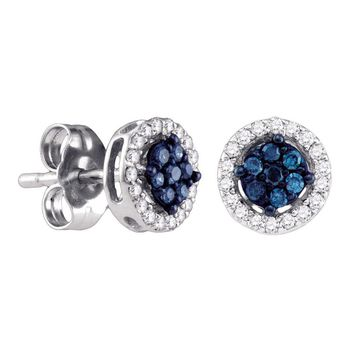 14k White Gold Womens Round Blue Color Enhanced Diamond Cluster Stud Screwback Earrings 1/4 Cttw