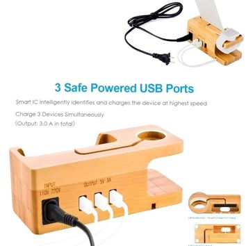 Charging Station,Bamboo Wood USB Charger Dock,5V 3A Smart USB Port Charging Stand for Watch, Smartphones