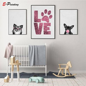 Dogs Wall Art Nursery Decor Puppy Photography Bubble Gum Poster Pink Chihuahua Print French Bulldog Canvas Painting