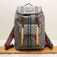 GUCCI Trending Leather School Bag Bookbag Backpack Grey