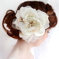organza ivory flower headpiece, bridal hair clip - MERIWETHER - light pink and beige