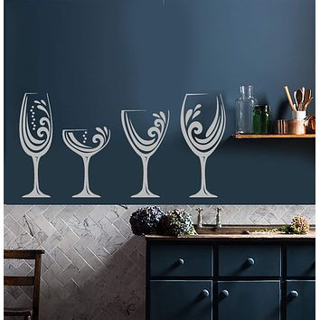 Vinyl Wall Decal Alcohol Wine Bar Shop Glasses Kitchen Decoration Stickers (2824ig)