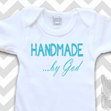 Handmade by God Christian Baby Outfit - Infant Outfit - Baby Onesuit - Baby Boy Clothes, Newborn Shirt - Baby Shower Gift - Baby & Toddler