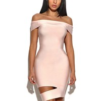 Gwen of shoulder cut out bandage dress