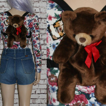 90s Teddy Bear Backpack Small Purse Bag Lolita Cyber Goth Festival Hipster Pastel Grunge Stuffed Animal