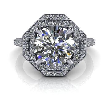 Free Center Stone! - Unique Halo Diamond Engagement Ring Setting  - Moissanite Halo Ring