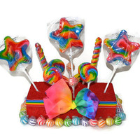 Rainbow Star Lollipop Centerpiece, Rainbow Candy Centerpiece, Candy Buffet, Lollipop Centerpiece, Birthday Party, Centerpiece, Candy