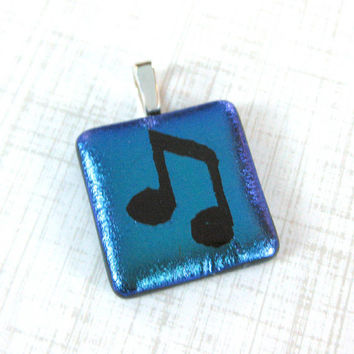 Music Note on Teal Pendant, Fused Glass Jewelry, Musical Jewelry, Handmade Jewelry - Bellamy - 4528 -3