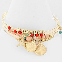 Sea Life Starfish and Shell Bangle Bracelets