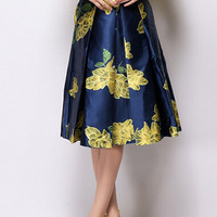 Navy Blue Knee Length Pleated Skirt with Yellow Floral Print Detail