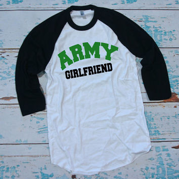 Army Baseball shirt XS-XL Unisex sizes. Army Girlfriend. Army Wifey. Army Mom. Military baseball shirt.