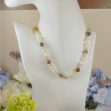 "19"" white freshwater rice pearl necklace with multi-color jasper bead accent, hand-knotted AAA white rice pearls, .925 sterling silver clasp"