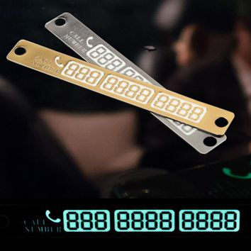 Car Styling Telephone Number Card Sticker 15x2cm Night Luminous Temporary Car Parking Card Plate Suckers Phone Number Card