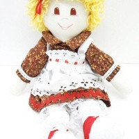 handmade Rag Doll cloth body girl ragdoll fabric toy brown eyed blond, NF181