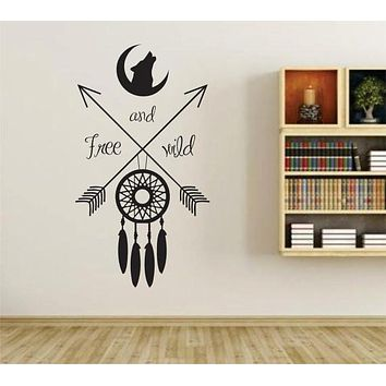 Free and Wild with Moon, Arrows and Dreamcatcher Wall Vinyl Decal Sticker Art Graphic Sticker
