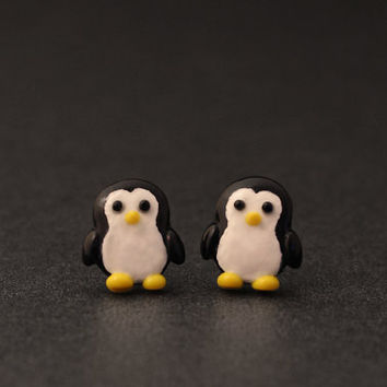 Penguin Earrings, Kids Teens Adults, Cute Animals, Polymer Clay Studs