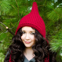 Hand Knit Hat Womens Hat - Pixie Hat in Red Cranberry - Winter Fashion Winter Accessories Chunky Knit